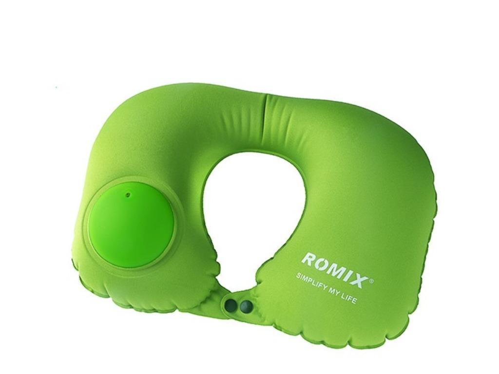 Подушка Romix RH34 надувная, для шеи, цвет: салатовый подушка romix rh 34 30358 green