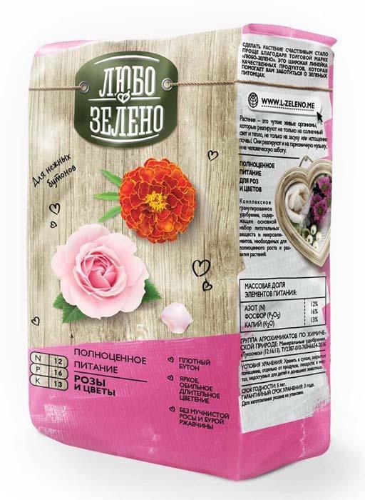 Тукосмесь Любо-Зелено Розы и цветы, 1 кг для растений запас питательных веществ нужен для