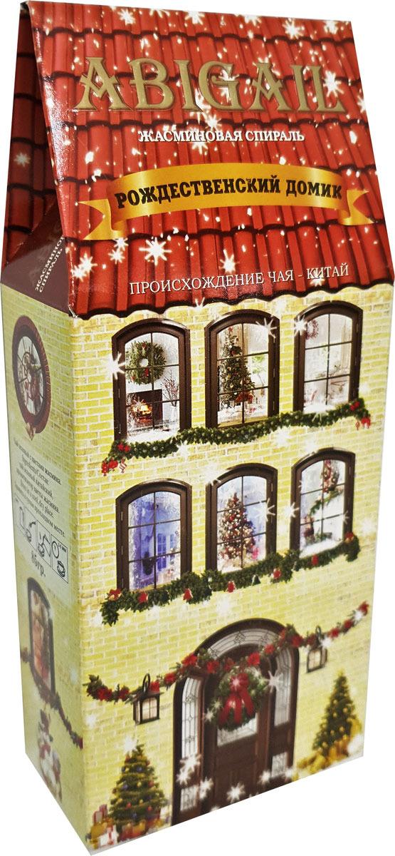Чай листовой зеленый Abigail Желтый домик зимний, с жасмином, 85 г чай листовой abigail чайный домик со снеговиком жасминовая спираль 50 г