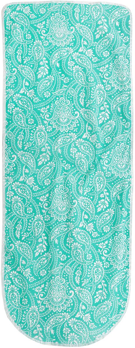 Чехол для гладильной доски Detalle, цвет: зеленый, белый, 125 см х 47 см чехол для гладильной доски attribute express цвет зеленый 140 х 60 см