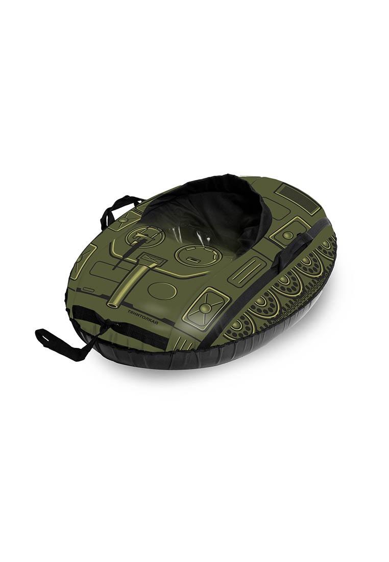 Тюбинг овальный ТяниТолкай COMFORT, танк, цвет:темно-зеленый, 100см