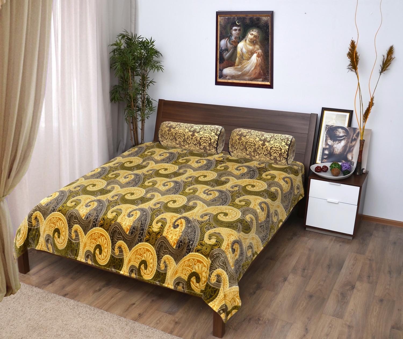 Плед Мягкий Сон Veroni ПФ-180-06 микрофибра-фланель, цвет: желтый, серый, 180х220 см, 100% полиэстер. 323-ПФ-180-06 цена