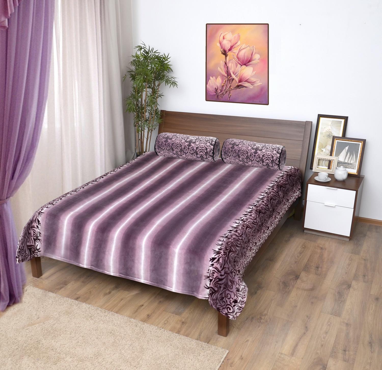 Плед Мягкий Сон Veroni ПФ-180-09 микрофибра-фланель, цвет: фиолетовый, сиреневый, 180х220 см, 100% полиэстер. 323-ПФ-180-09 цена