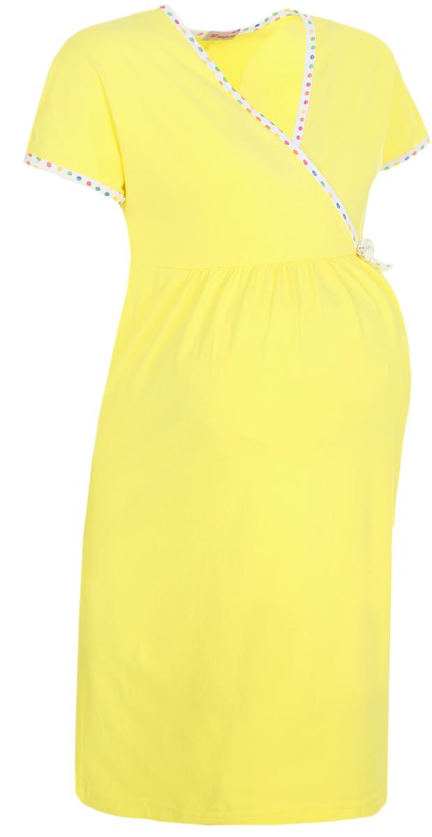 Фото - Платье домашнее 40 недель сорочка ночная для беременных и кормящих 40 недель цвет желтый 180178 размер 46
