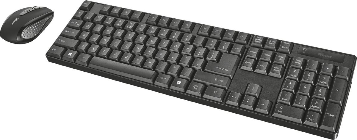 цена на Комплект мышь + клавиатура Trust Ximo Wireless, беспроводной, цвет: черный, серый