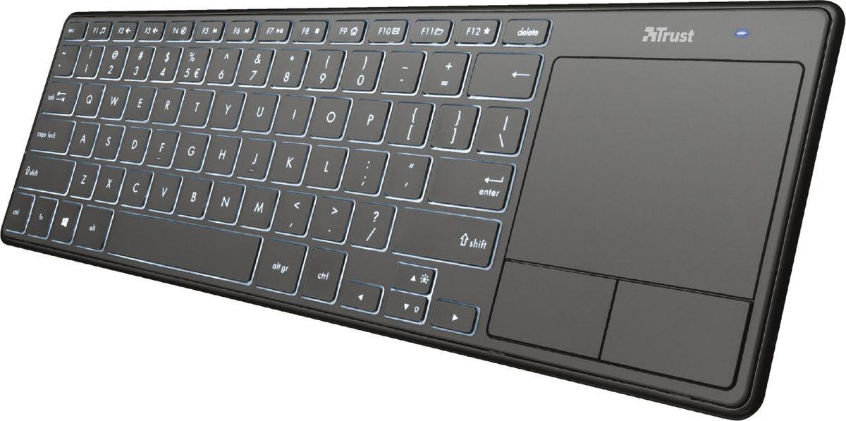 Клавиатура Trust Theza, беспроводная, с сенсорной панелью, цвет: черный, серый