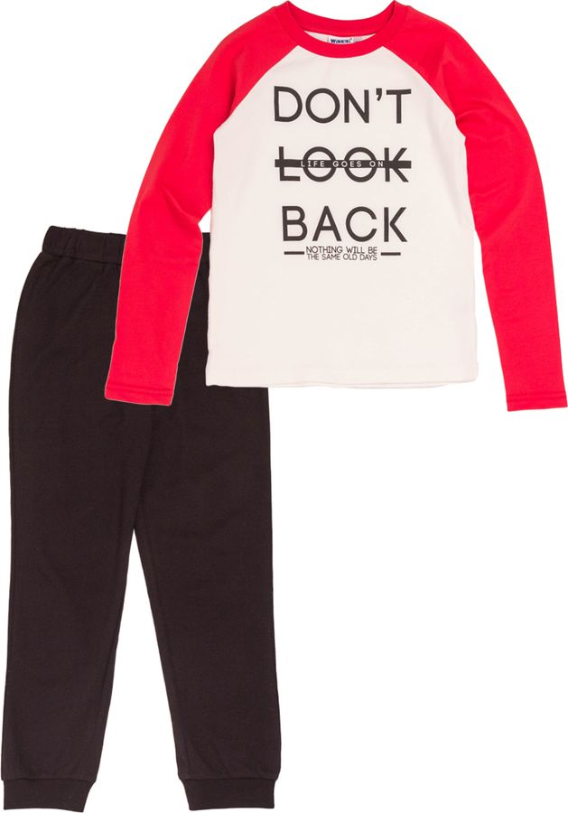 Комплект одежды для девочки Winkiki: футболка с длинным рукавом, брюки, цвет: красный, черный. WJG82184. Размер 134WJG82184Трикотажный комплект из высококачественного хлопкового полотна. Комбинированная белая футболка с длинным рукавом-реглан красного цвета, округлая горловина дополнена контрастной трикотажной бейкой. Передняя часть украшена шрифтовым принтом. Однотонные черные брюки на манжетах, на талии широкая комфортная резинка.