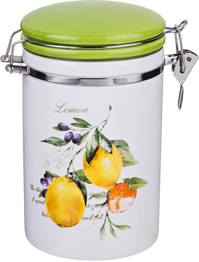 Банка для сыпучих продуктов Lefard Итальянские лимоны, с клипсой, 800 мл банка для чая 0 5 л итальянские лимоны lcs