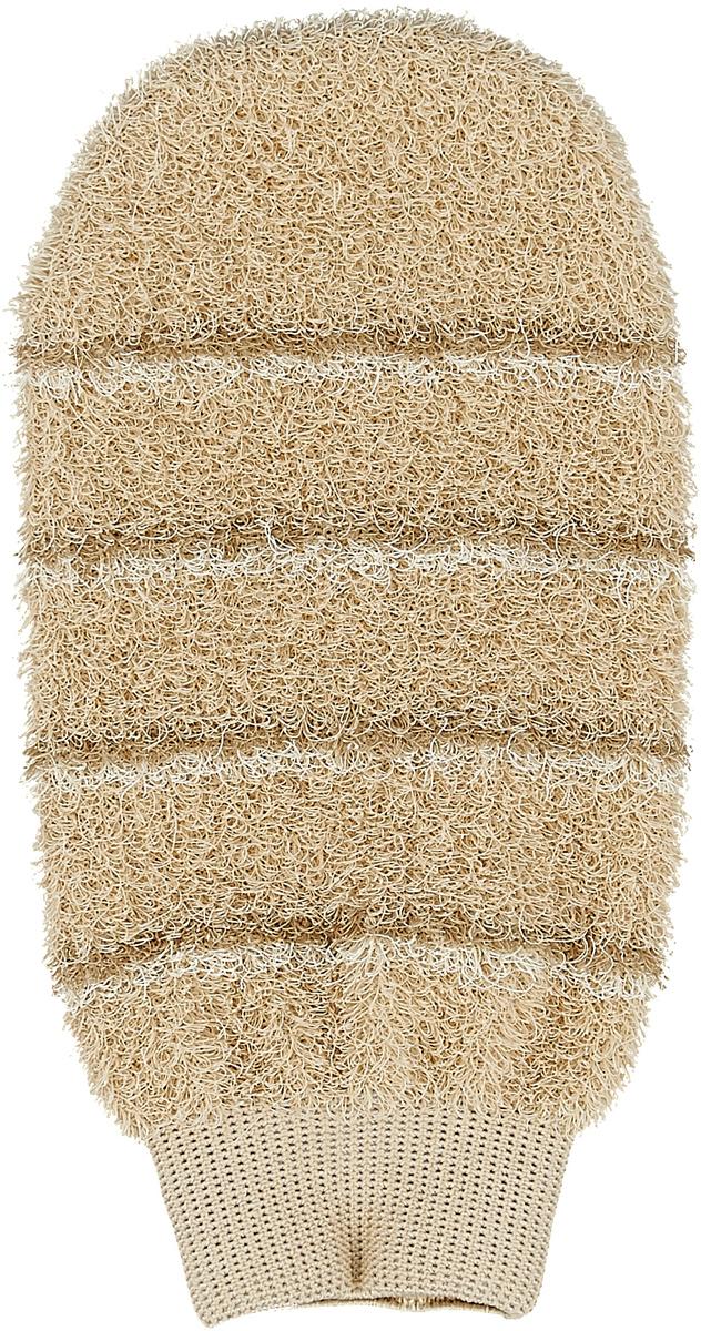 Мочалка-рукавица массажная Riffi, цвет: бежевый мочалка рукавица riffi мягкая цвет бежевый