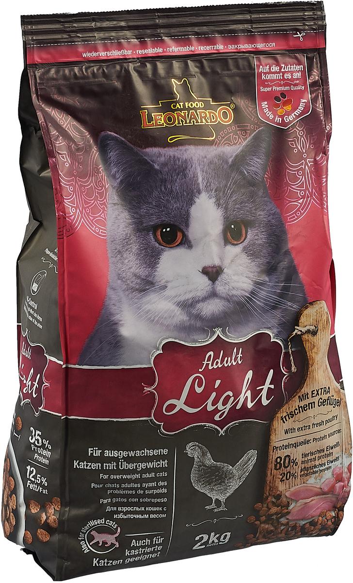 """Корм сухой Leonardo """"Light"""", для кастрированных котов и стерилизованных кошек, для животных с избыточным весом, 2 кг"""