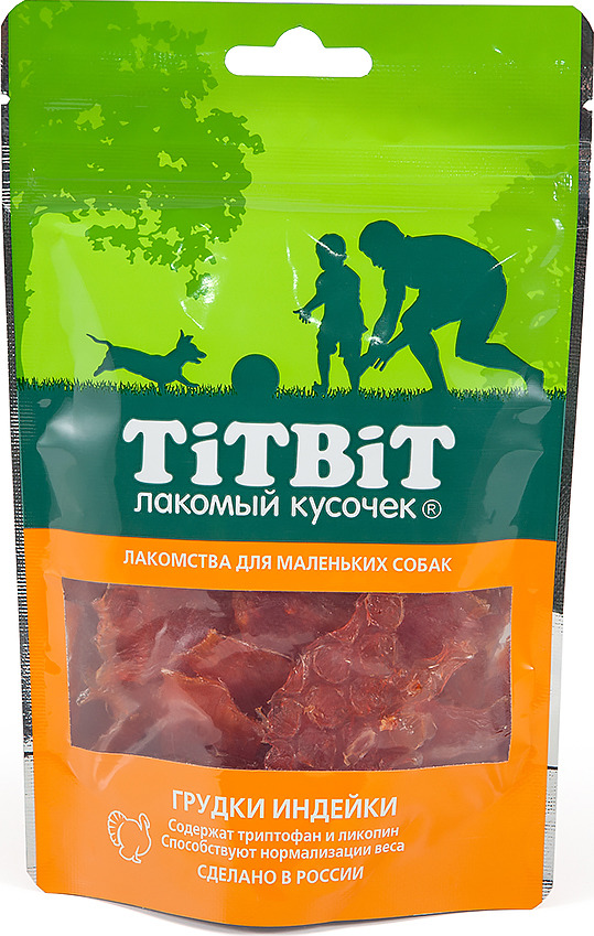 Лакомство Titbit Грудки индейки для собак малых пород, 010655, 50 г добавки триптофан