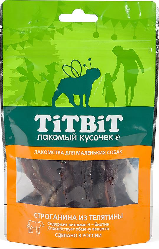 """Лакомство Titbit """"Строганина из телятины"""" для собак малых пород, 010730, 50 г"""