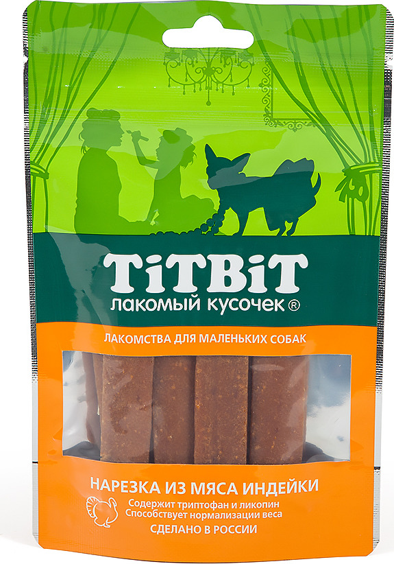 Лакомство Titbit Нарезка из мяса индейки для собак малых пород, 010860, 50 г добавки триптофан