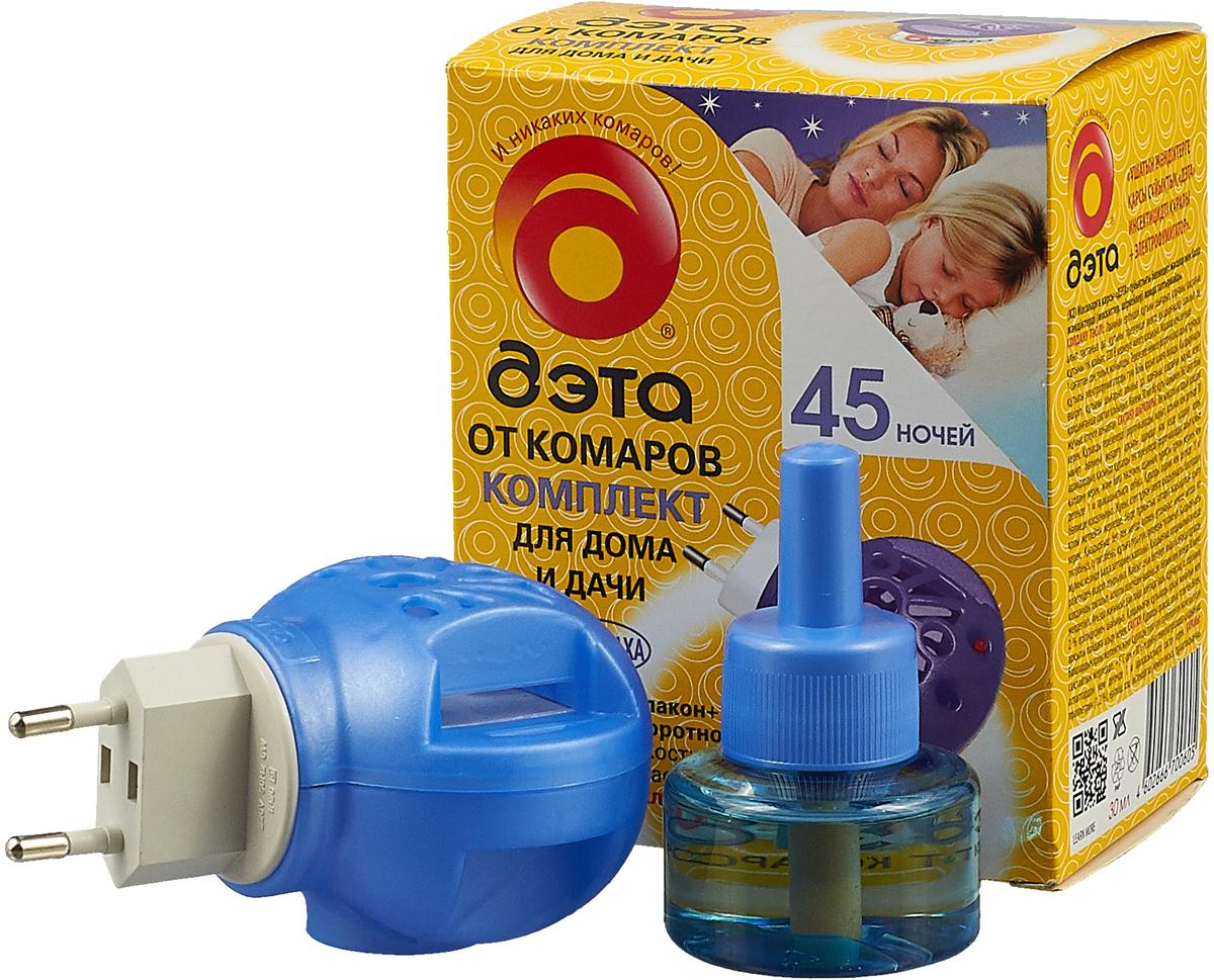 Фумигатор Дэта, универсальный, + жидкость от комаров, без запаха, с индикатором включения, 45 ночей, 30 мл фумигатор бэби дэта универсальный для детской комнаты жидкость от комаров с индикатором включения 45 ночей 30 мл
