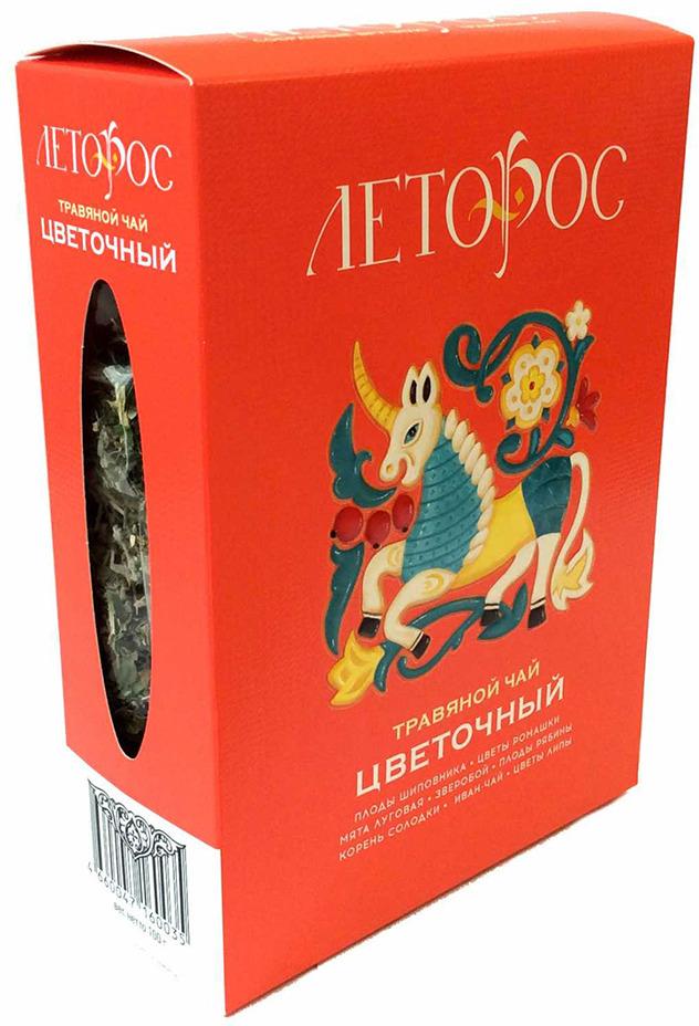 Чай листовой Леторос Цветочный, травяной, 100 г teacher карельский чай цветочно травяной купаж 500 г