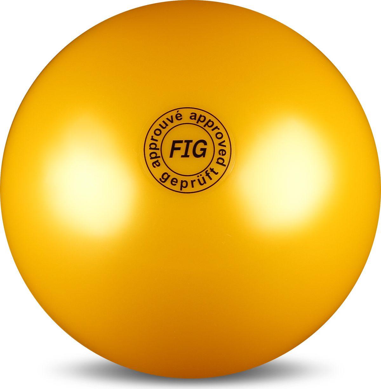 Мяч гимнастический Indigo, цвет: желтый, диаметр 19 см мяч для художественной гимнастики indigo силиконовый цвет разноцветный диаметр 15 см