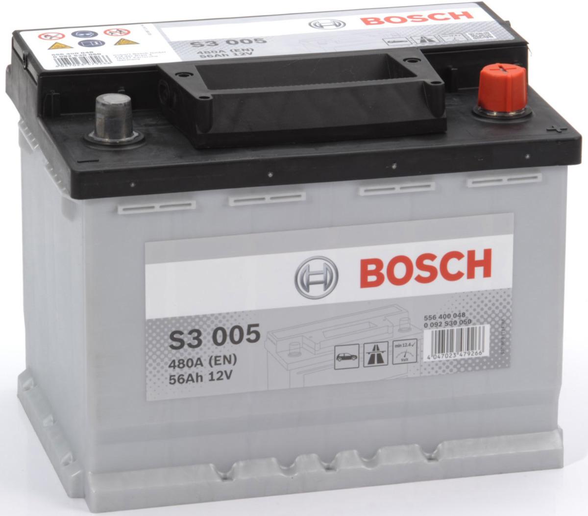 Автомобильный аккумулятор Bosch S3, 480A, ОП, 56 а/ч0092S30050Аккумуляторы Bosch S3 - это надежность и пусковая мощность по приемлемой цене для автомобилей с небольшим количеством электрических компонентов и для автомобилей компакт-класса.
