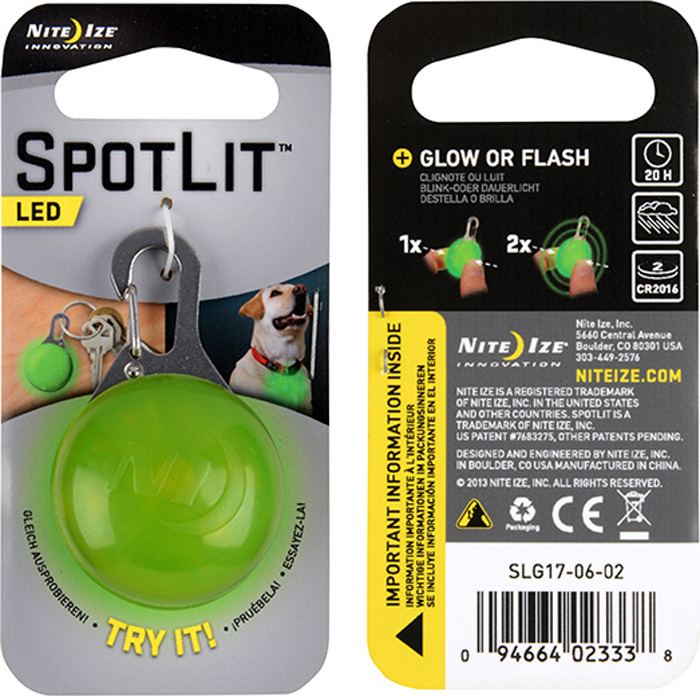 Брелок светодиодный NiteIze SpotLit, SLG17-06-02, светло-зеленый, 5 люмSLG17-06-02Nite Ize SpotLit LED - идеальный мини-маячок, который всегда готов помочь вам в темноте. Яркий светодиод в легком корпусе с карабином из нержавеющей стали может крепиться к чему угодно: петле на одежде, брелку, куртке, рюкзаку, застежке и пр. Долговечный и яркий светодиод отлично подходит для массы жизненных ситуаций - от чтения до поиска замочной скважины, а прикрепив SpotLit, например, к палатке, вы обозначите свое местоположение в темноте.Характеристики:Надежный карабин из нержавеющей стали.Кнопочный выключатель.Два режима работы: непрерывное свечение, импульс.Питание: 2 батарейки типа 2016 (3В).Время работы: свечение - 20 часов / импульс - 25 часов.