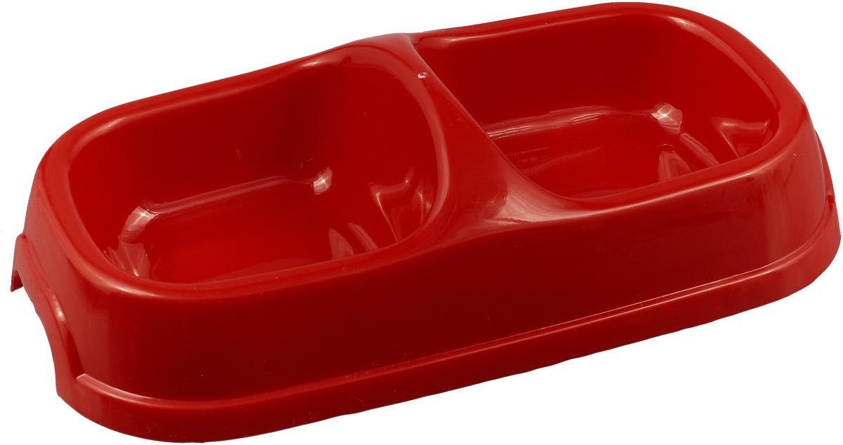 Миска для животных №1, двойная, цвет: красный 2 х 200 мл миска для животных 1 двойная цвет серый 2 х 500 мл