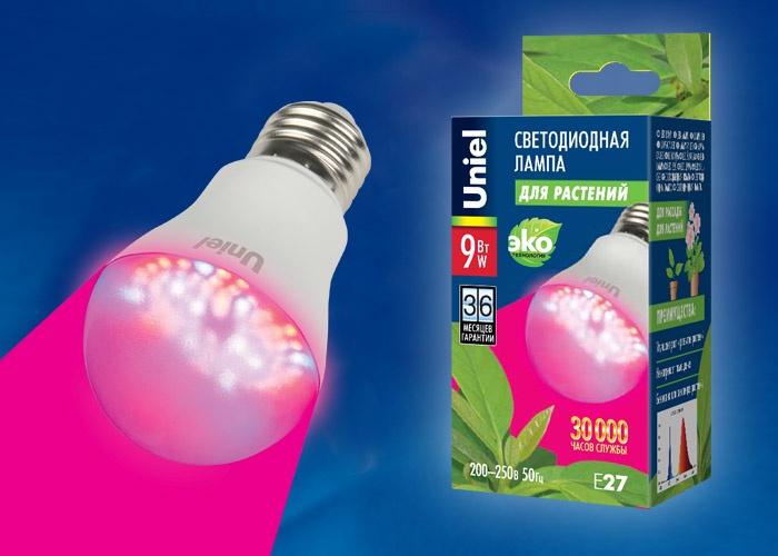 Светодиодная фито-лампа для растений Uniel LED-A60-9W/SP/E27/CL