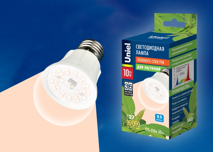 Фито-лампа Uniel LED-A60-10W/SPFR/E27/CL для растений, светодиодная. UL-00001820