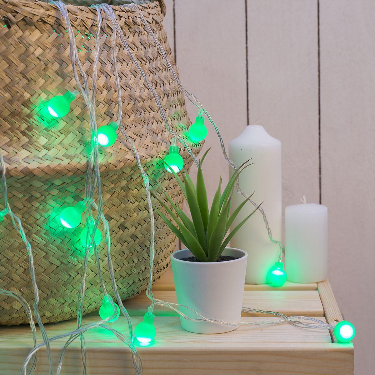 Гирлянда электрическая Luazon Lighting Нить. Шарики Зеленые, нить прозрачная, цвет: зеленый, 30 LED, 220 V, 8 режимов, длина 5 м гирлянда уличная luazon lighting сеть умс нить прозрачная цвет разноцветный 192 led 2 х 1 5 м