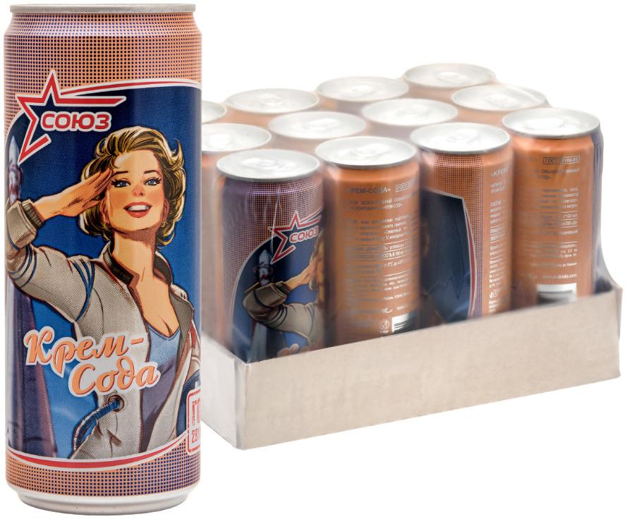 Напиток безалкогольный сильногазированный ароматизированный Союз Крем Сода, 330 мл х 12 шт союз тархун напиток безалкогольный сильногазированный 0 33 л