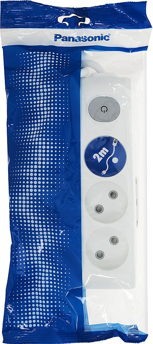 """Удлинитель сетевой Panasonic """"X-tendia"""", с защитой от детей, с выключателем, цвет: белый, 3 розетки, 2 м. 54962"""
