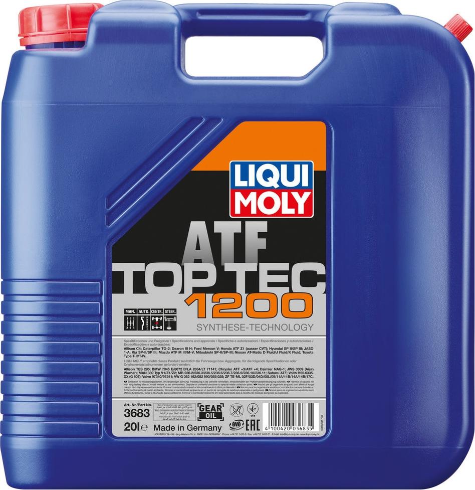 Трансмиссионное масло Liqui Moly Top Tec ATF 1200, НС-синтетическое, для АКПП, 3683, 20 л масло трансмиссионное синтетическое liqui moly top tec atf 1100 для акпп 1 л