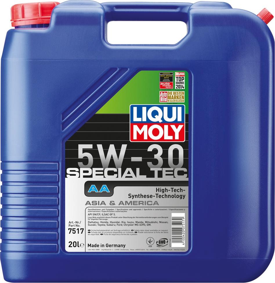 Моторное масло Liqui Moly Special Tec AA, НС-синтетическое, 7517, 20 л моторное масло liqui moly special tec aa 5w 30 1 л 7515