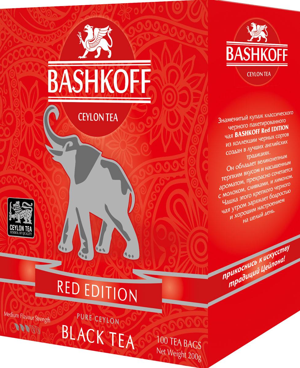 Чай черный пакетированный Bashkoff Tea Red Edition, 100 шт чай черный листовой bashkoff tea red edition pekoe 200 г