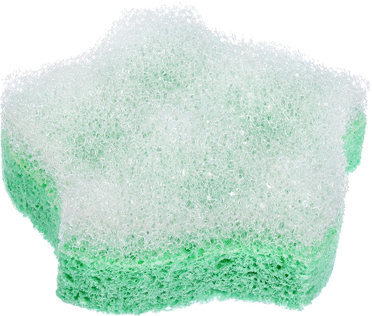 Мочалка Банные штучки, цвет: зеленый, с массажным слоем, 11 х 11 х 3,5 см курносики мочалка с массажным слоем рыбка цвет голубой белый