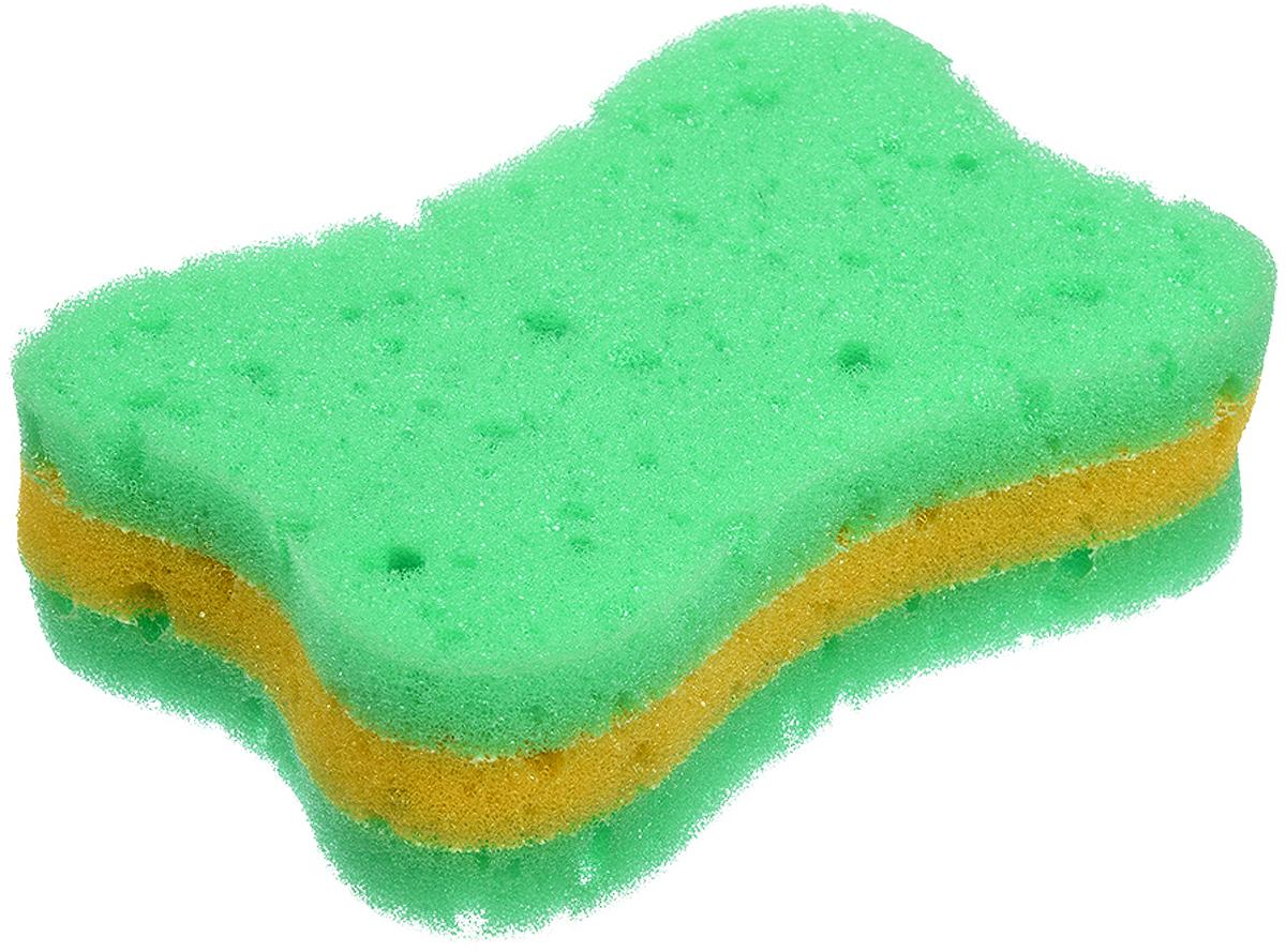 Мочалка Баннные штучки, 3-слойная, цвет: зеленый, 13 х 9 х 4 см мочалка банные штучки цвет бежевый 96 х 9 см