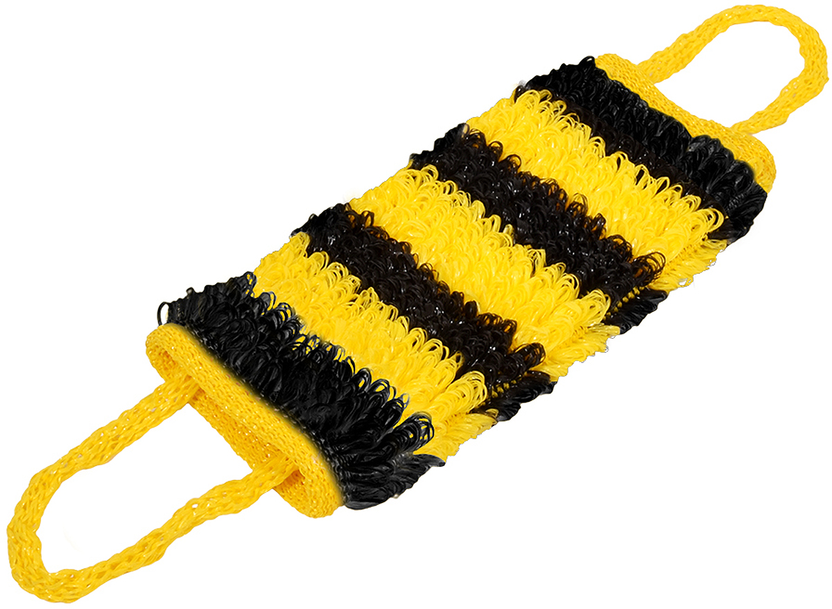 Мочалка Баннные штучки Шмель, цвет: желтый, 60 х 15 см мочалка баннные штучки цвет красный 75 х 14 см