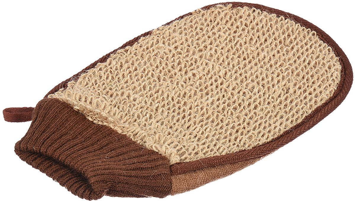 Мочалка Банные штучки, цвет: коричневый, 15 х 24 см цена