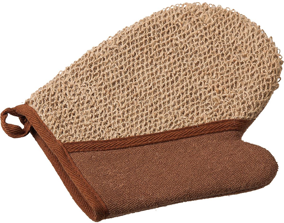 Мочалка Банные штучки, цвет: коричневый, 18 х 21 см мочалка из сизаля банные штучки 40057