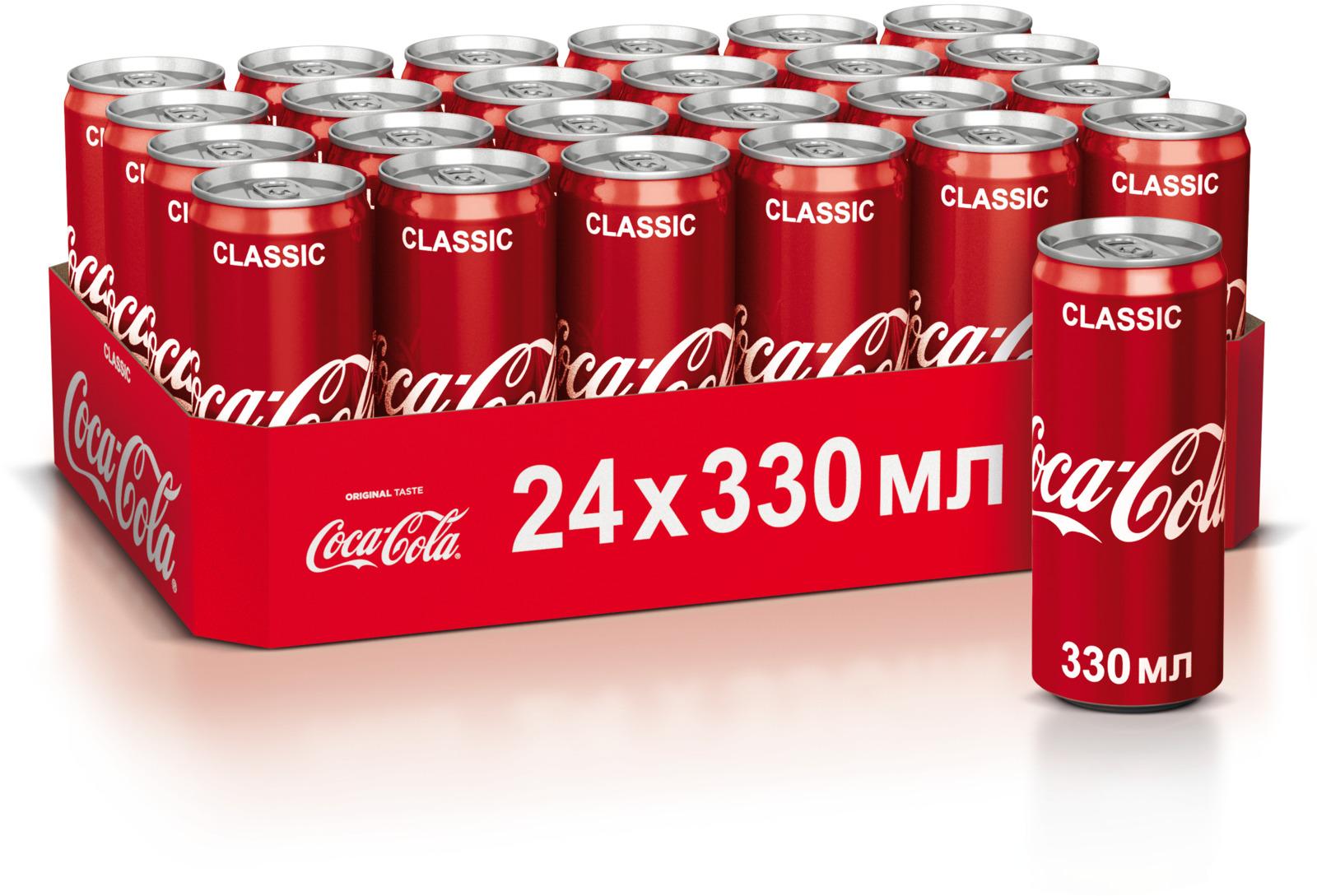 Coca-Cola напиток сильногазированный 24 штуки по 0.33 л