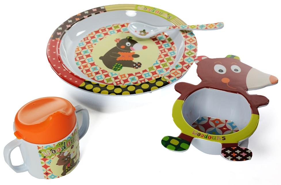 Набор посуды для кормления Ebulobo Мишка, 4 предмета ложечка ebulobo зоопарк цвет белый e85004
