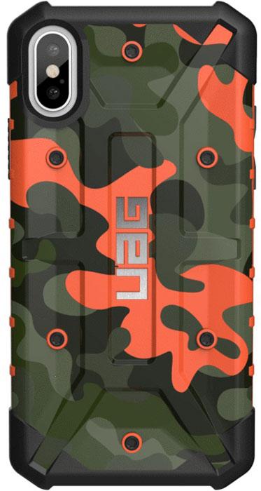 Защитный чехол UAG Pathfinder для iPhone X, цвет: оранжевый камуфляж