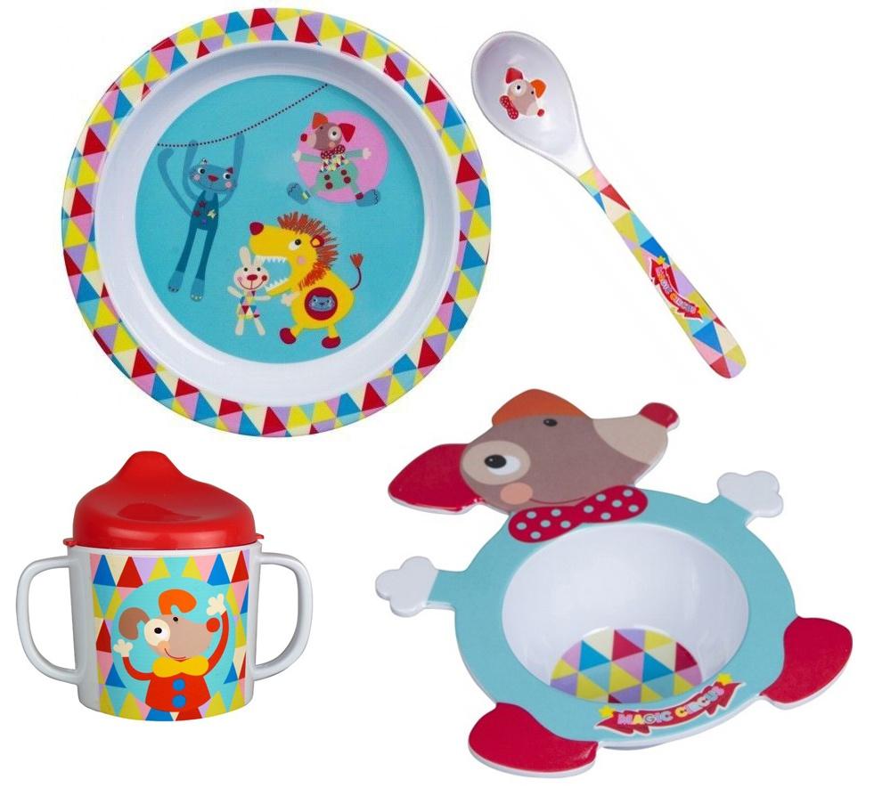 Набор посуды для кормления Ebulobo Волшебный цирк, 4 предмета lubby набор посуды для кормления 3 предмета цвет оранжевый