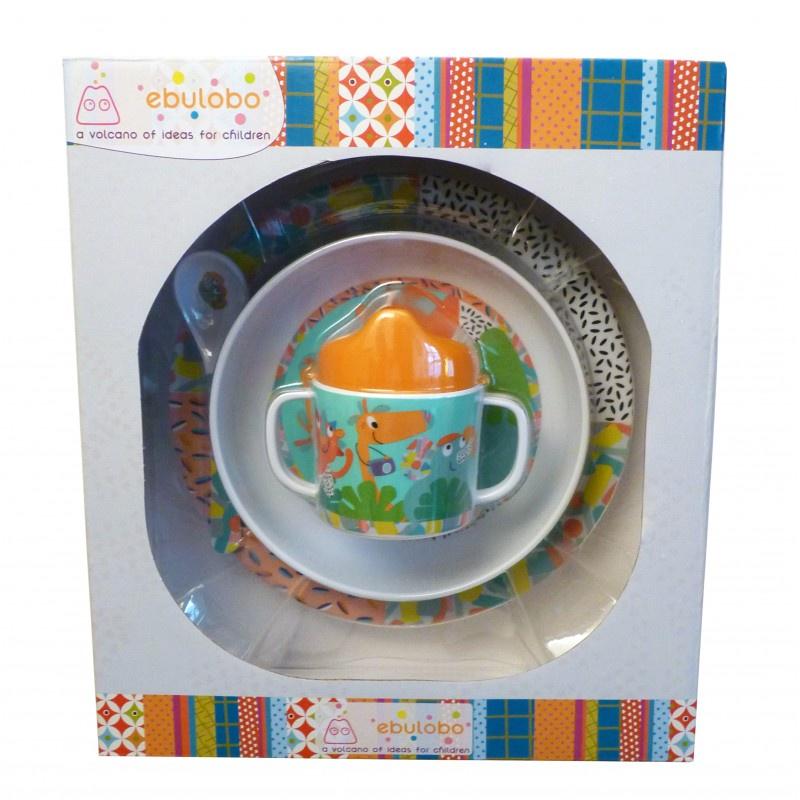 Набор посуды Ebulobo Зоопарк в подарочной коробке, 4 предмета. E85007F ложечка ebulobo зоопарк цвет белый e85004
