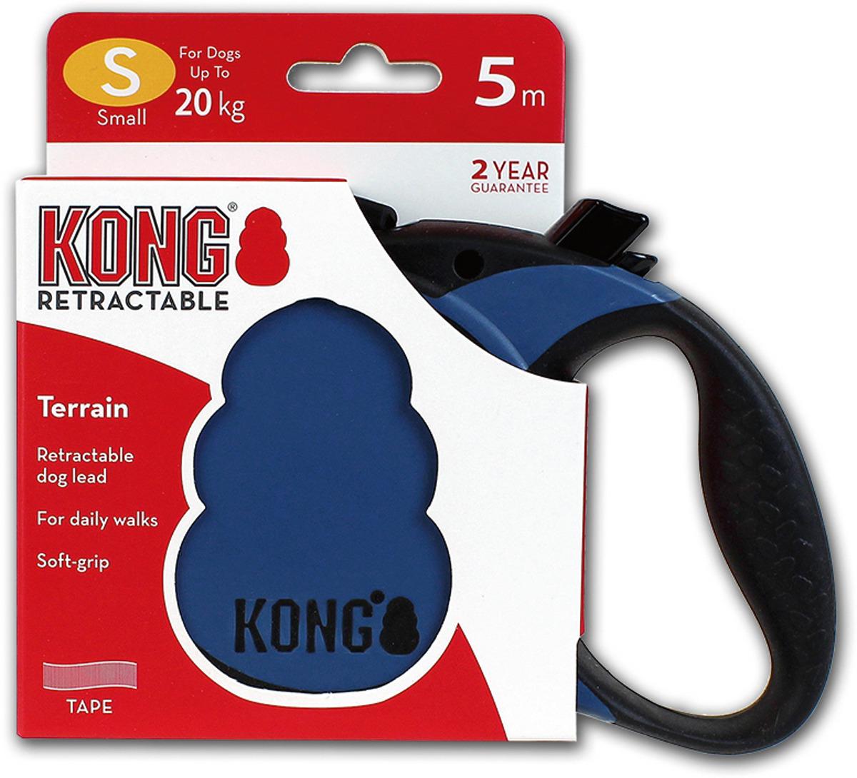 Поводок-рулетка для собак Kong Terrain S, цвет: синий, до 20 кг, 5 м