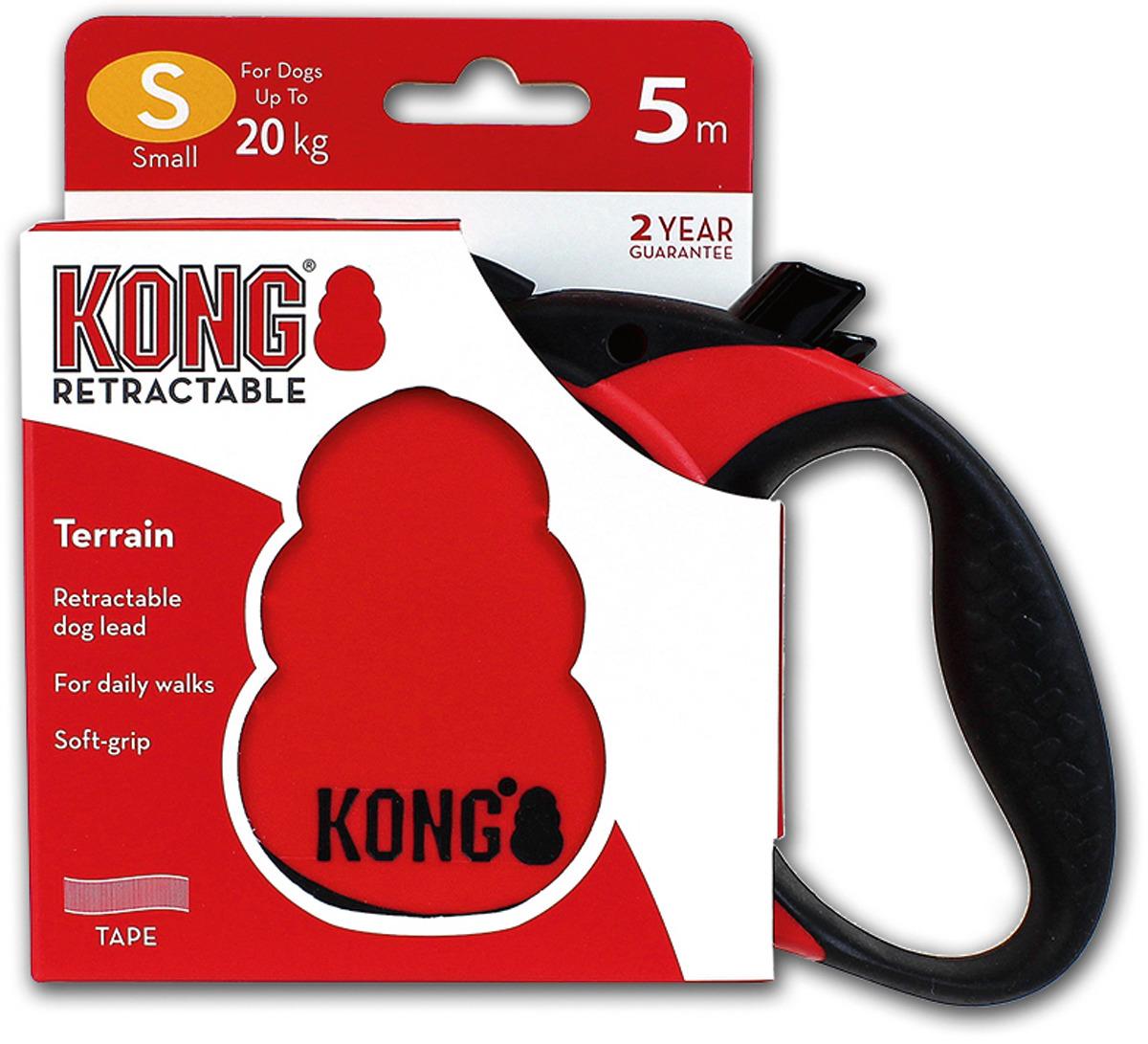 Поводок-рулетка для собак Kong Terrain S, цвет: красный, до 20 кг, 5 м