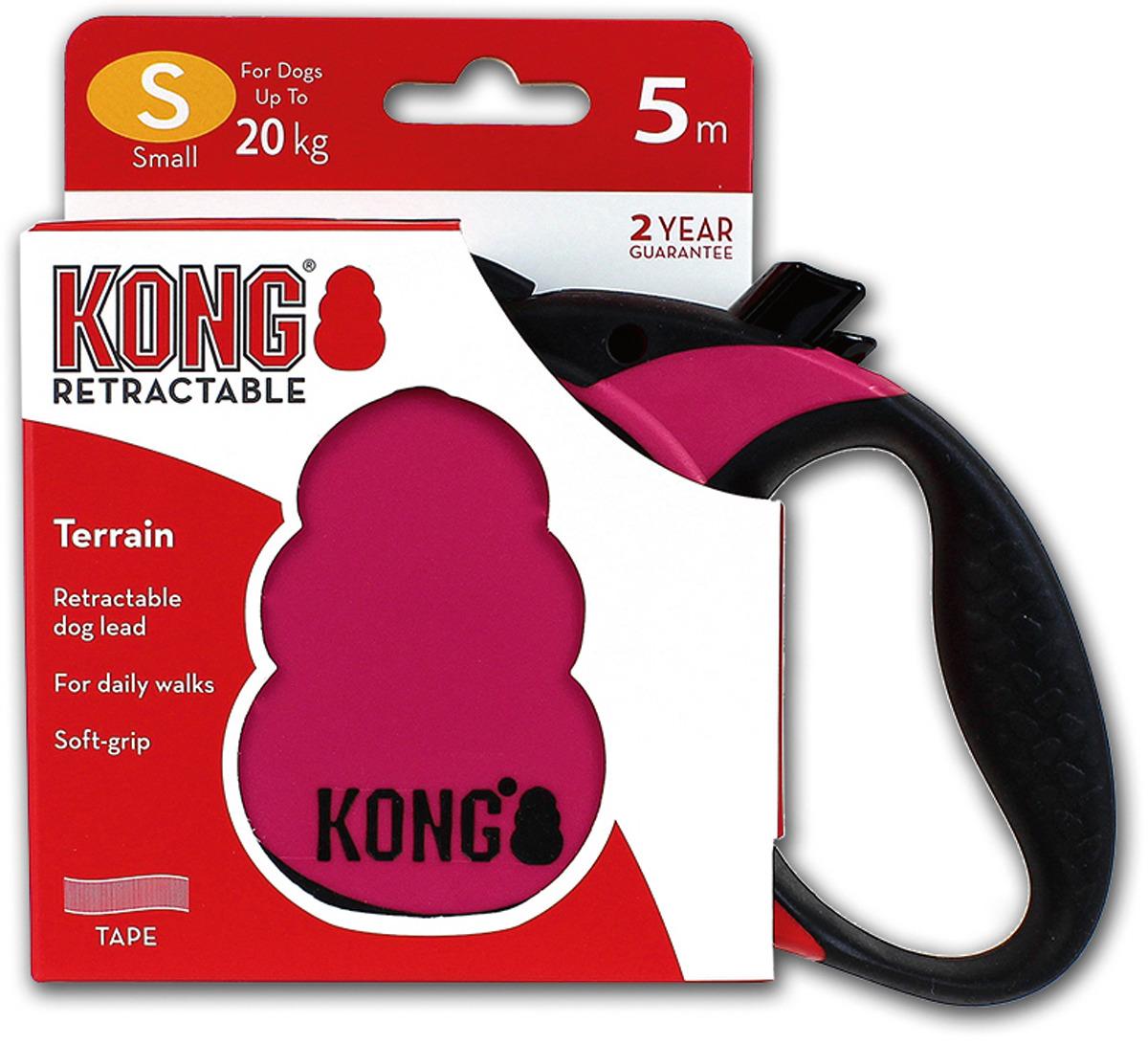 Поводок-рулетка для собак Kong Terrain S, цвет: фуксия, до 20 кг, 5 м