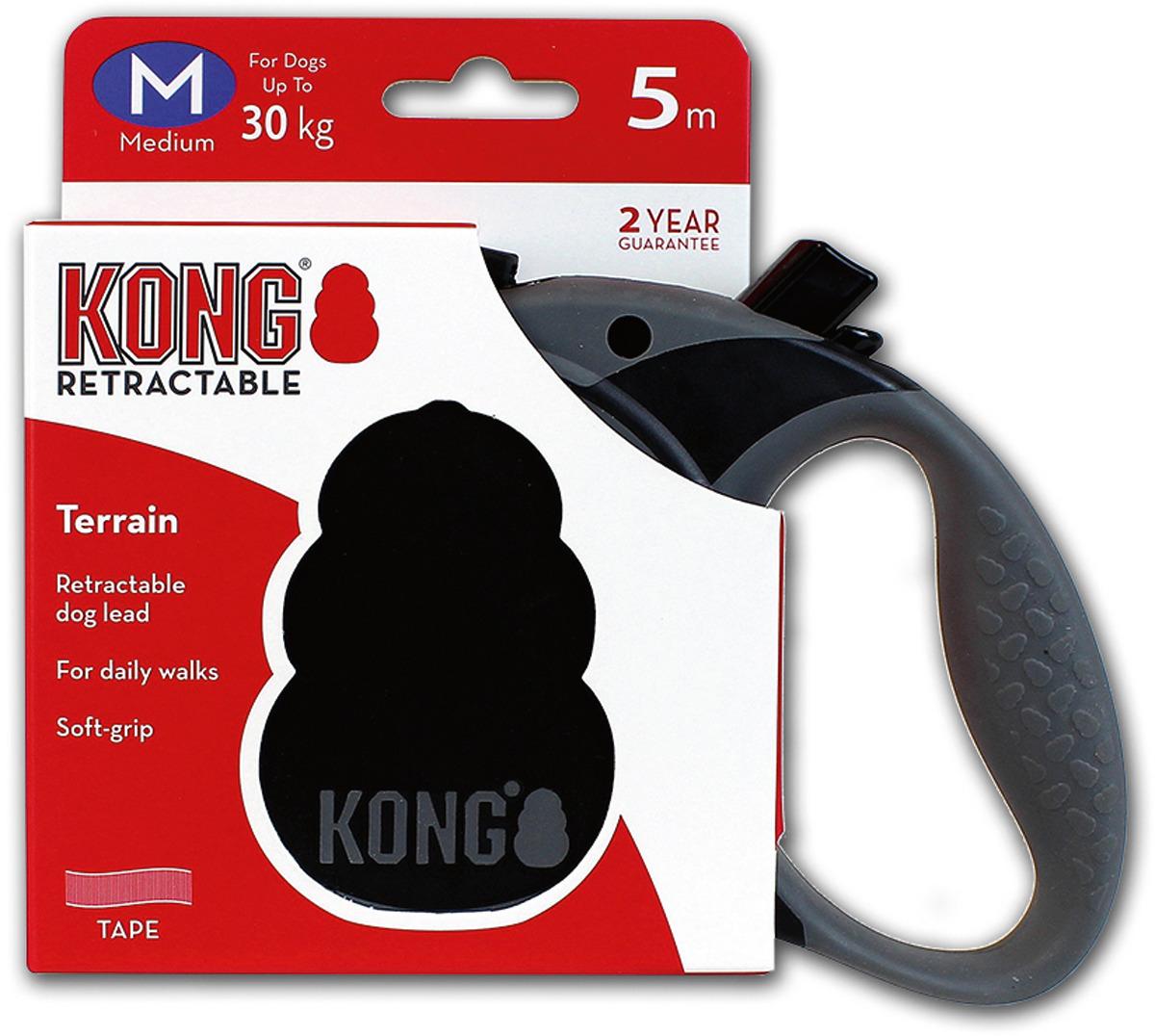 Поводок-рулетка для собак Kong Terrain M, цвет: черный, до 30 кг, 5 м