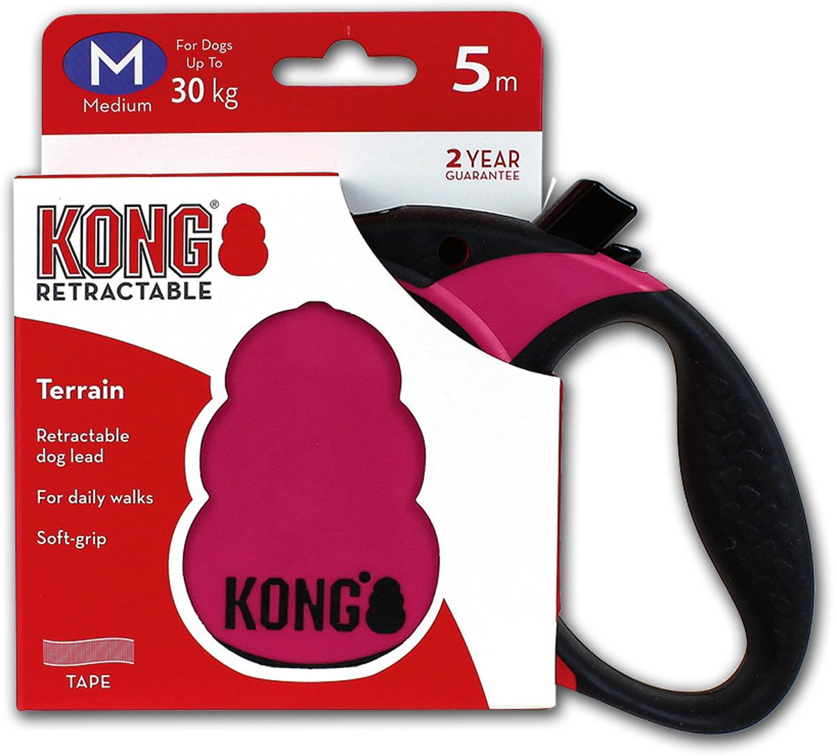 Поводок-рулетка для собак Kong Terrain M, цвет: фуксия, до 30 кг, 5 м