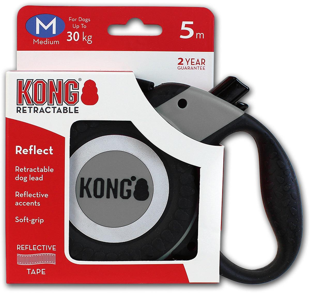 Поводок-рулетка для собак Kong Reflect M, цвет: серый, до 30 кг, 5 м