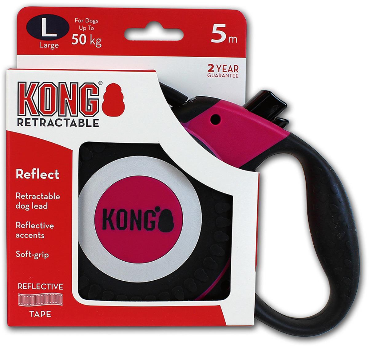 Поводок-рулетка для собак Kong Reflect L, цвет: фуксия, до 50 кг, 5 м