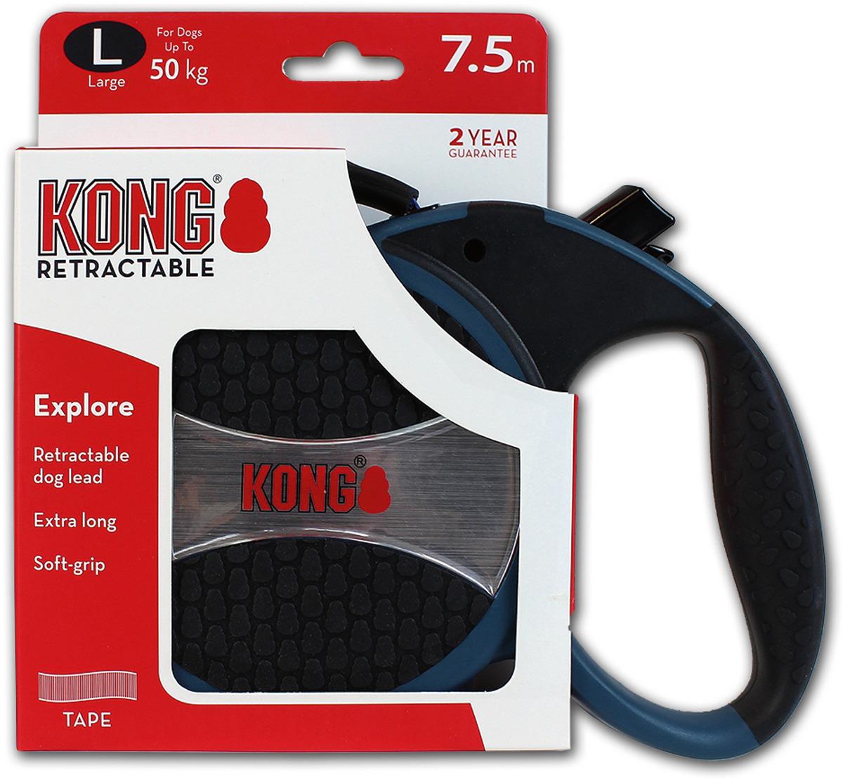 Поводок-рулетка для собак Kong Explore L, цвет: синий, до 50 кг, 7,5 м