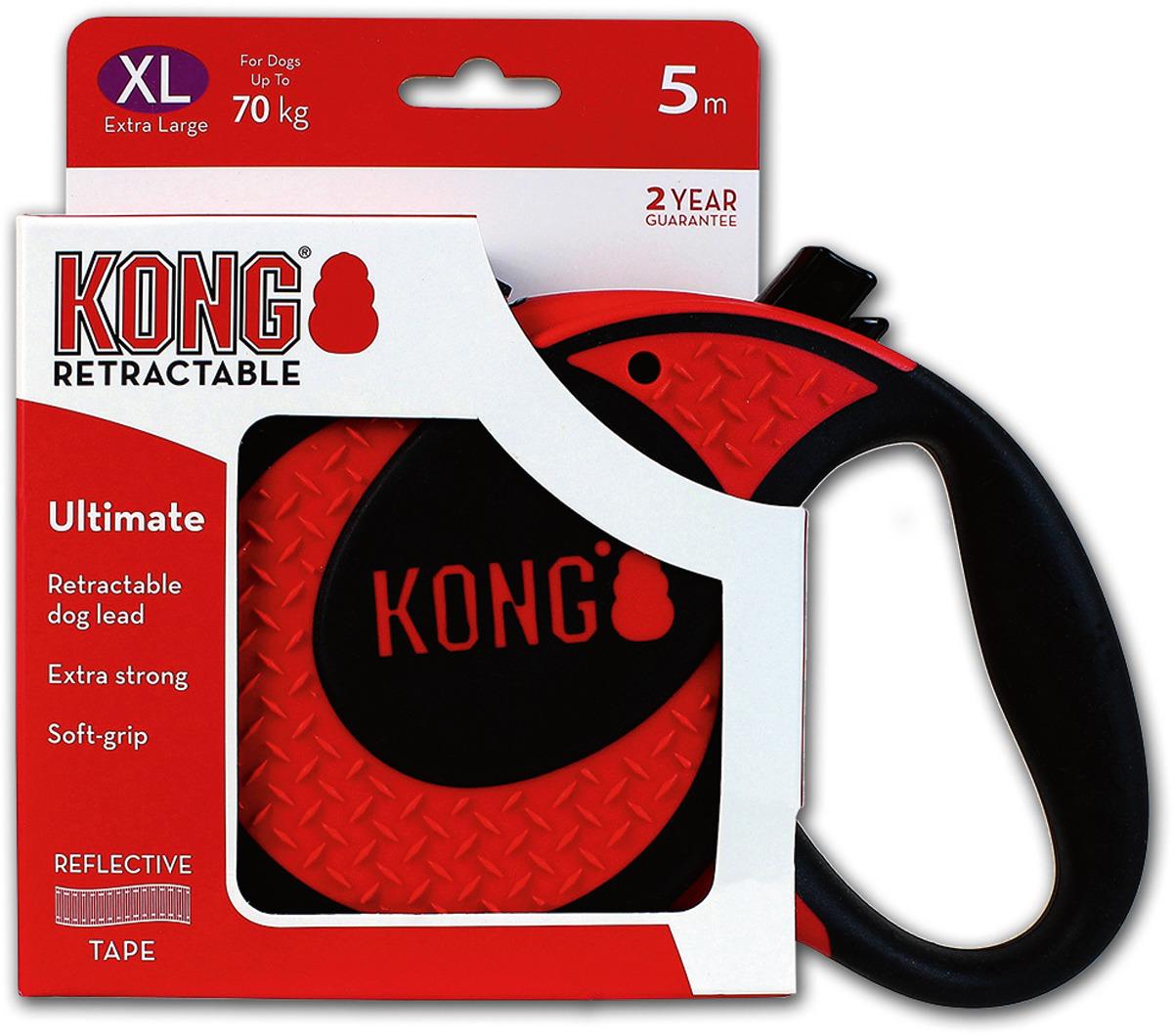 Поводок-рулетка для собак Kong Ultimate XL, цвет: красный, до 70 кг, 5 м